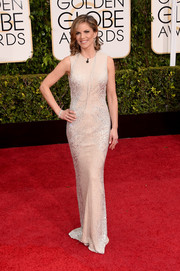 Natalie Morales looked very polished in an embellished nude Kaufmanfranco column dress at the Golden Globes.