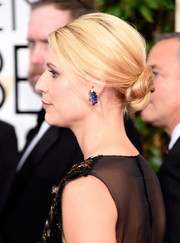 Claire Danes swept her blonde locks back into a twisted bun for the Golden Globes.