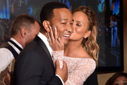 Recording artist John Legend (L), winner of Best Original Song - Motion Picture for 'Glory' (from 'Selma'), with model Chrissy Teigen in the press room during the 72nd Annual Golden Globe Awards at The Beverly Hilton Hotel on January 11, 2015 in Beverly Hills, California.