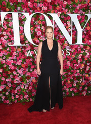 Amy Schumer donned a plunging black gown by Brandon Maxwell for the 2018 Tony Awards.