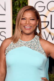 Queen Latifah showed off her megawatt smile with glossy pink lipstick at the 2016 Golden Globes.