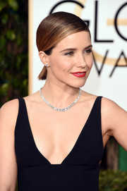 Sophia Bush attended the Golden Globes wearing her hair in a slicked-down pony.