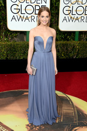 Joanne Froggatt was equal parts sweet and sexy in this strapless periwinkle gown by Reem Acra at the Golden Globes.