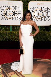 Taraji P. Henson went for a minimalist-chic look with this strapless white gown by Stella McCartney Couture at the Golden Globes.