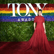Ruth Wilson got glam in a red Brandon Maxwell ballgown with capelet detailing for the 2019 Tony Awards.