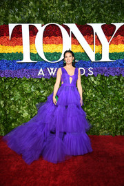 Lucy Liu made a grand entrance in a tiered purple cutout gown by Christian Siriano at the 2019 Tony Awards.