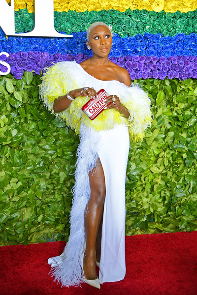 Cynthia Erivo went for playful styling with a crystal slogan clutch by Judith Leiber.