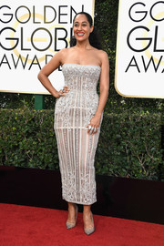 Tracee Ellis Ross put on a curvy display in a tight-fitting strapless dress by Zuhair Murad Couture at the Golden Globes.