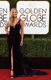 Nancy O'Dell oozed glamour wearing this purple fishtail gown at the Golden Globes.