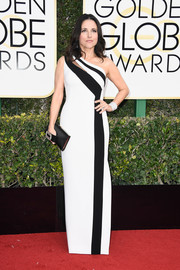 Julia Louis-Dreyfus chose a stylish black-and-white one-shoulder gown by Georges Chakra for her Golden Globes look.