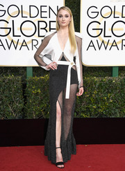Sophie Turner was modern and sexy in a partially sheer black-and-white gown by Louis Vuitton at the Golden Globes.