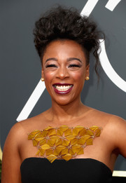 Samira Wiley looked uber cool wearing this messy mohawk at the 2018 Golden Globes.