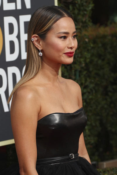 More Pics of Jamie Chung Strapless Dress (7 of 11) - Dresses & Skirts Lookbook - StyleBistro [hair,hairstyle,dress,clothing,beauty,shoulder,lady,blond,chin,lip,arrivals,jamie chung,the beverly hilton hotel,beverly hills,california,golden globe awards,the 75th annual golden globe awards]