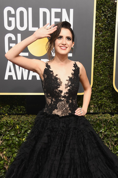 More Pics of Laura Marano Princess Gown (3 of 8) - Dresses & Skirts Lookbook - StyleBistro [dress,clothing,gown,lady,fashion,hairstyle,shoulder,fashion model,carpet,a-line,arrivals,laura marano,beverly hills,california,the beverly hilton hotel,golden globe awards,annual golden globe awards]