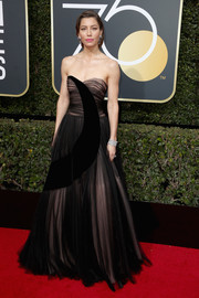 Jessica Biel looked enchanting in a Dior Couture strapless gown, in black tulle with a velvet moon accent, at the 2018 Golden Globes.