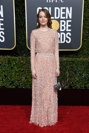 Emma Stone looked refined in a scallop-beaded blush gown by Louis Vuitton at the 2019 Golden Globes.