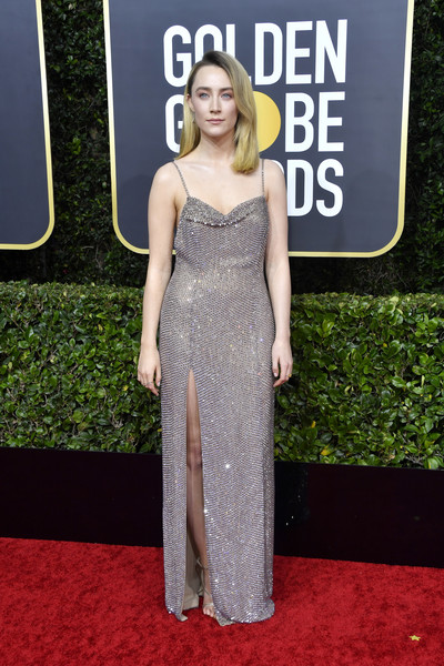 Saoirse Ronan dazzled in a high-slit beaded gray gown by Celine at the 2020 Golden Globes.