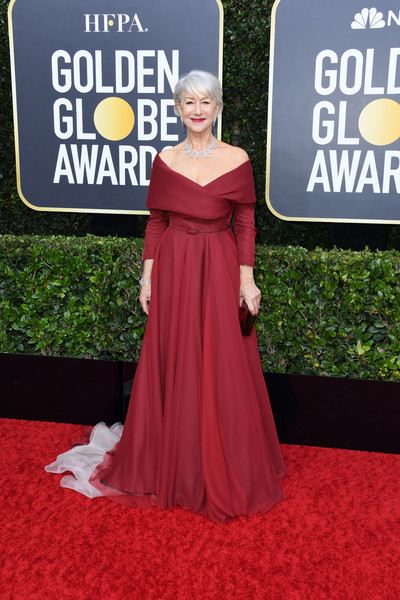 Helen Mirren was pure elegance in a ruby-red off-the-shoulder gown by Dior Couture at the 2020 Golden Globes.
