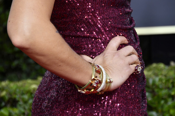 More Pics of Busy Philipps Side Sweep (1 of 12) - Busy Philipps Lookbook - StyleBistro [purple,red,dress,nail,magenta,glitter,hand,fashion accessory,bangle,jewellery,arrivals,busy philipps,jewelry detail,beverly hills,california,the beverly hilton hotel,golden globe awards,the golden globe awards ceremony,actor,television,1979,sequin,television critics association,golden globe awards,busy philipps,michelle williams]