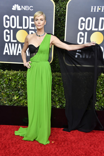 Charlize Theron was a modern goddess in a neon-green and black one-shoulder gown by Dior Couture at the 2020 Golden Globes.