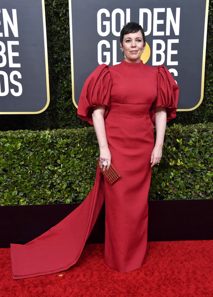 Olivia Colman glammed up in a red column dress with puffed sleeves and a long train for the 2020 Golden Globes.