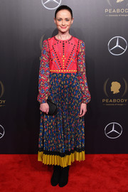 Alexis Bledel was a boho cutie in a RED Valentino maxi dress with a beaded bodice and a printed skirt and sleeves at the 2018 Peabody Awards.
