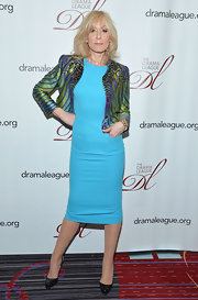 This peacock patterned cropped jacket was to die for on Judith Light.