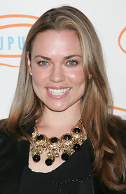 Natalie Coughlin wore a lovely gold statement necklace with gemstone details at the 7th Annual Lupus event.