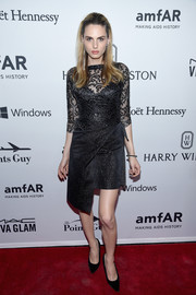 Andreja Pejic kept it classic in a lace-bodice LBD at the amfAR Inspiration Gala.