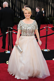Jacki looked like a queen at the Oscars in a pale ball gown with a heavily beaded bodice.