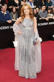 Lea Thompson dazzled in a beaded silver gown complete with a matching shawl.
