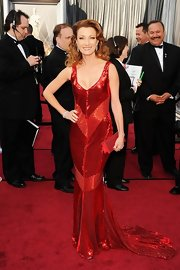 Jane Seymour, one of StyleBistro's 50 Most Beautiful Women Over 50, was typically ravishing in a sequined crimson gown with retro chevron stripes.