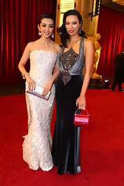 Wendi Deng wore a halter dress made of gemstones, satin, and velvet -- something perfect for the Academy Awards.