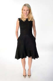 Naomi Watts looked classic with a twist in this rich lace LBD at the Academy Awards Nominations Luncheon.