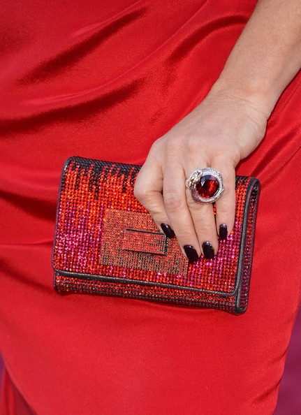 Marcia Gay Harden wore an luxe ruby ring at the 2013 Oscar Awards.