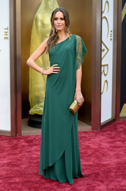 Louise Roe donned an emerald one shoulder gown with lace detailing at the 2014 Academy Awards.