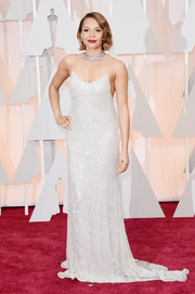 Carmen Ejogo brought some Old Hollywood-inspired sexiness to the Oscars red carpet in a fully sequined white slip dress by Houghton.