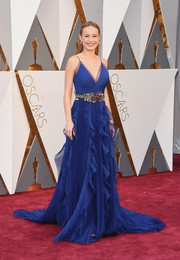 Brie Larson worked the Oscars red carpet in a flowy royal-blue ruffle gown by Gucci.
