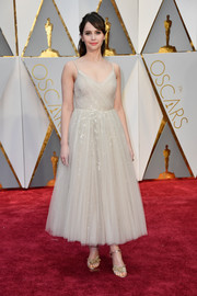 Felicity Jones kept it enchanting all the way down to her gold Christian Louboutin sandals.