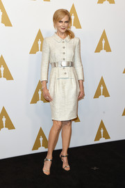 Nicole Kidman was classic in a belted tweed skirt suit by Chanel Couture at the Academy Awards nominees luncheon.