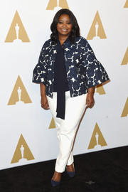 Octavia Spencer kept it classic in a blue and white floral swing jacket at the Academy Awards nominees luncheon.