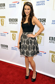 Jessica Lowndes chose black suede peep toe pumps and a black satin clutch for the 8th Annual BAFTA/LA TV party.
