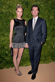 Rebecca Romijn looked phenom at the CFDA/Vogue Fashion Fund Awards in a satin LBD with an ornate ribbon embellishment.