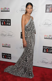 Chanel Iman looked like an Art Deco dream in a gorgeous draped bead gown at the Keep a Child Alive Black Ball.