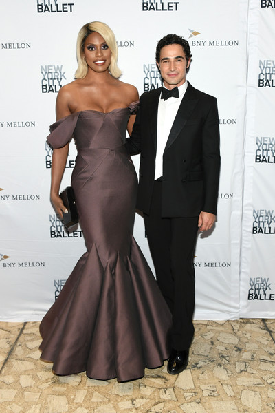 Laverne Cox cut an ultra-glam figure in an off-the-shoulder mauve mermaid gown by Zac Posen at the 2019 New York City Ballet Fall Fashion Gala.