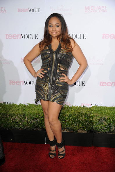 Raven isn't shy about making a fashion statement! She turned up at the Young Hollywood party in a multi zipper cutout mini dress.