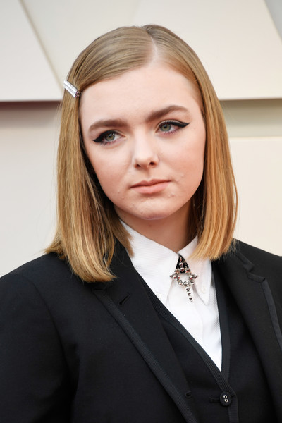 More Pics of Elsie Fisher Mid-Length Bob (6 of 10) - Elsie Fisher Lookbook - StyleBistro [hair,face,blond,eyebrow,hairstyle,beauty,head,suit,chin,formal wear,arrivals,elsie fisher,academy awards,hollywood,highland,california,annual academy awards]