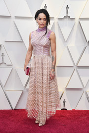 Lisa Bonet made an appearance at the 2019 Oscars wearing a beaded blush gown by Fendi Couture.