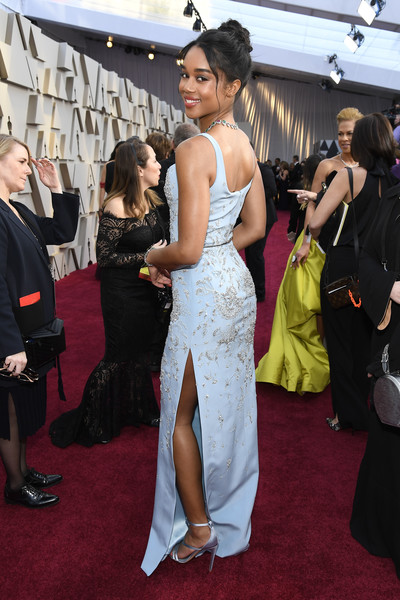 More Pics of Laura Harrier Gemstone Collar Necklace  (4 of 5) - Gemstone Collar Necklace  Lookbook - StyleBistro [red carpet,red carpet,carpet,dress,flooring,gown,clothing,premiere,event,fashion,shoulder,laura harrier,academy awards,hollywood,highland,california,annual academy awards]