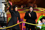 Padma Lakshmi bundled up in a classic black wool coat for Macy's Thanksgiving Day Parade.